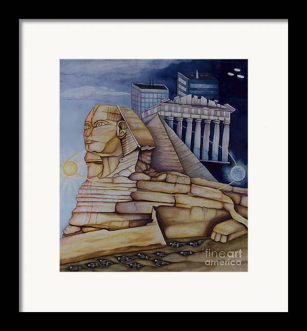 Sphinx Framed Print featuring the painting The Silent Witness Of Civilizations Past And Those Yet To Be Born by Rebecca Barham