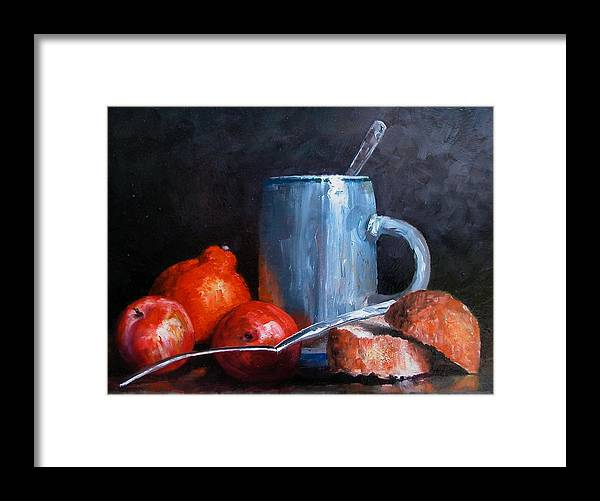 Still Life Framed Print featuring the painting The Silver Cup by Jim Gola