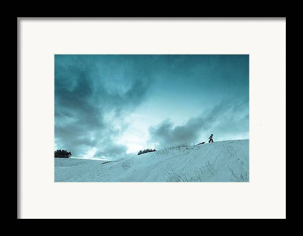 Sledding sledding Hill winter Landscape Snow Fun Nature greeting Card mary Amerman Minnesota Duluth child Sledding Framed Print featuring the photograph The Sledding Hill by Mary Amerman