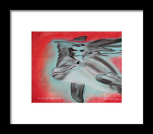 Framed Print featuring the pastel The Smiling Dolphins Of Taiji by Robert Timmons