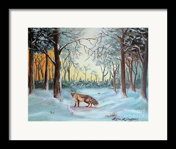Fox Framed Print featuring the painting The Sneaky Red Fox by Lora Duguay