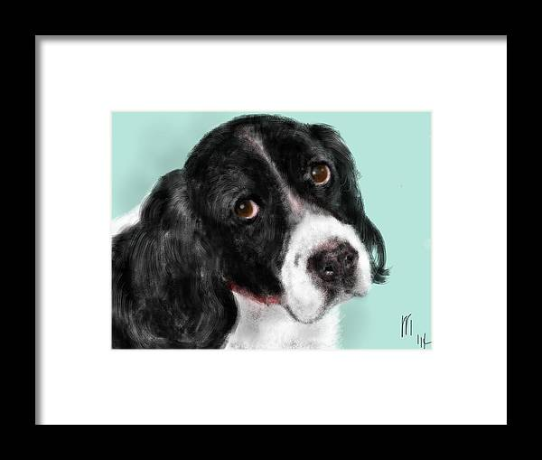 Animal Framed Print featuring the painting The Springer Spaniel by Lois Ivancin Tavaf