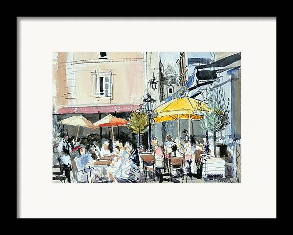 Cafe; Restaurant; French; Open Air; Dining; Eating; Al Fresco; Courtyard; Tables; Umbrellas; Brittany; Shade; Parasols; Terrace Framed Print featuring the painting The Square At St. Malo by Felicity House
