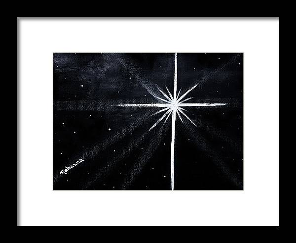 Night Framed Print featuring the painting The Star by Judy M Watts-Rohanna