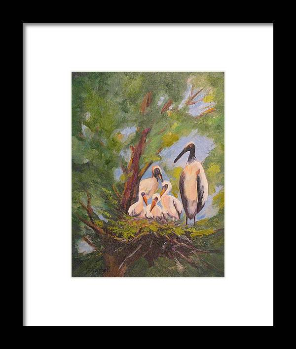 American Stork Framed Print featuring the painting The Stork Brought Them by Cecelia Campbell