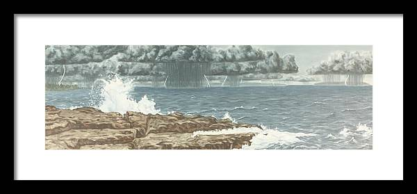 Landscape Framed Print featuring the painting The Storm by Michael Marcotte