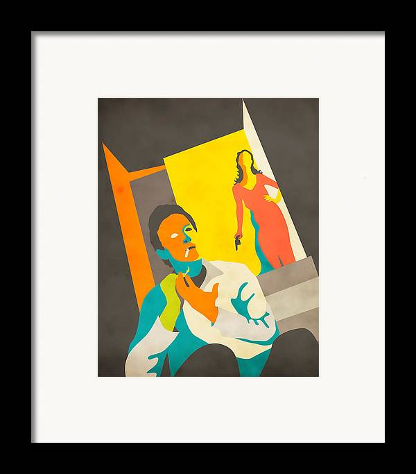 Vintage Framed Print featuring the digital art The Stranger On The Third Floor by Jazzberry Blue