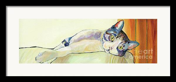 Pat Saunders-white Canvas Prints Framed Print featuring the painting The Sunbather by Pat Saunders-White