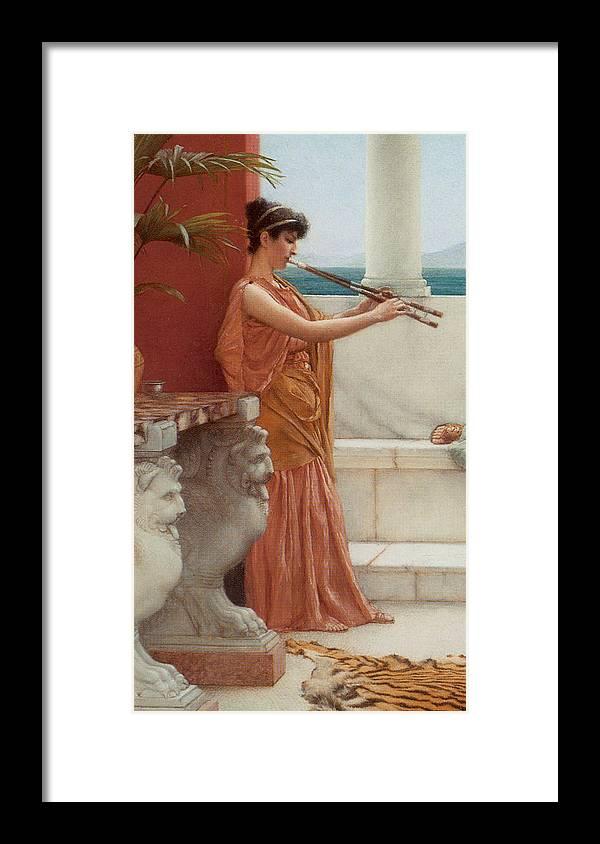 John William Godward Framed Print featuring the digital art The Sweet Siesta Of A Summer Day Detail by John William Godward