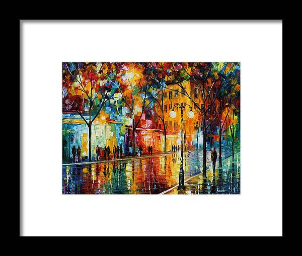 Leonid Afremov Framed Print featuring the painting The Tears Of The Fall - Palette Knife Oil Painting On Canvas By Leonid Afremov by Leonid Afremov