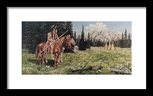 Landscape Framed Print featuring the painting The Tetons Early Tribes by Wanda Dansereau