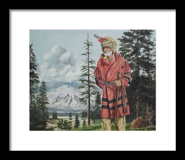 Grand Teton National Park Framed Print featuring the painting The Tetons Visitor by Wanda Dansereau