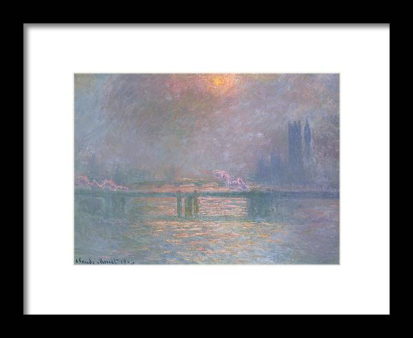 Landscape Framed Print featuring the painting The Thames With Charing Cross Bridge by Claude Monet