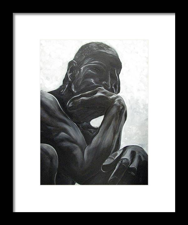 Black And White Paintings Framed Print featuring the painting The Thinker by Aimee Vance
