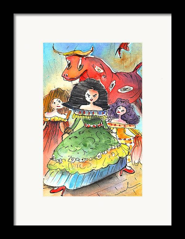 Travel Framed Print featuring the painting The Three Graces From Lanzarote And The Red Bull by Miki De Goodaboom