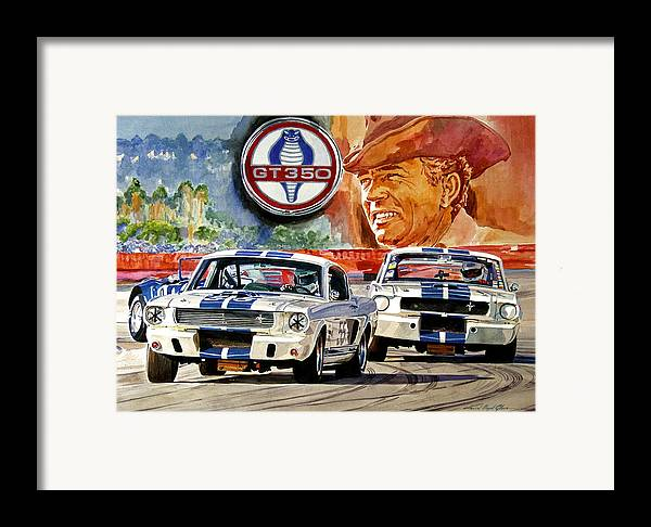 Shelby Artwork Framed Print featuring the painting The Thundering Blue Stripe Gt-350 by David Lloyd Glover