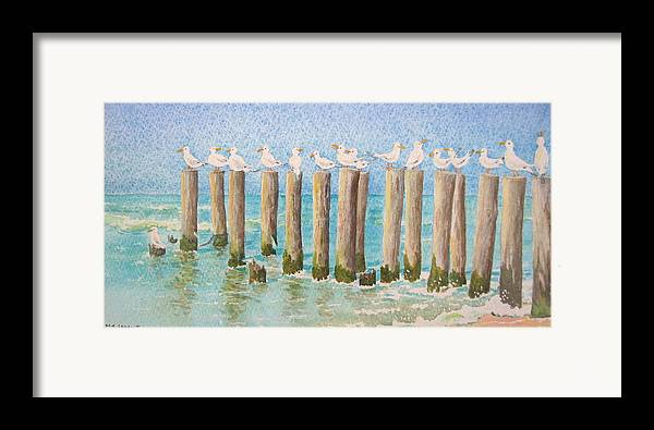 Seagulls Framed Print featuring the painting The Town Meeting by Mary Ellen Mueller Legault