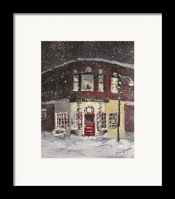 Christmas Framed Print featuring the painting The Toy Shop by Jack Skinner