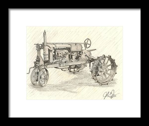 Tractor Framed Print featuring the drawing The Tractor by John Jones