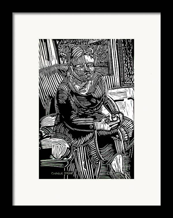 Traveler Framed Print featuring the relief The Traveler by Charlie Spear