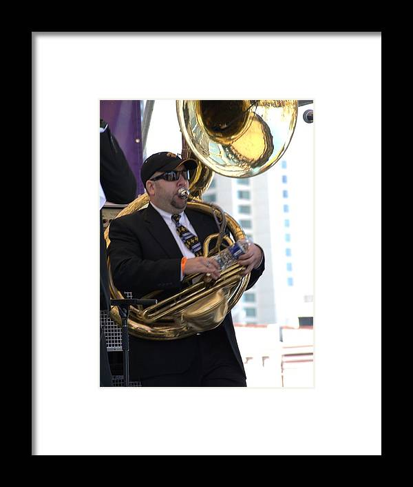 Tuba Framed Print featuring the photograph The Tuba Player by Anthony Walker Sr