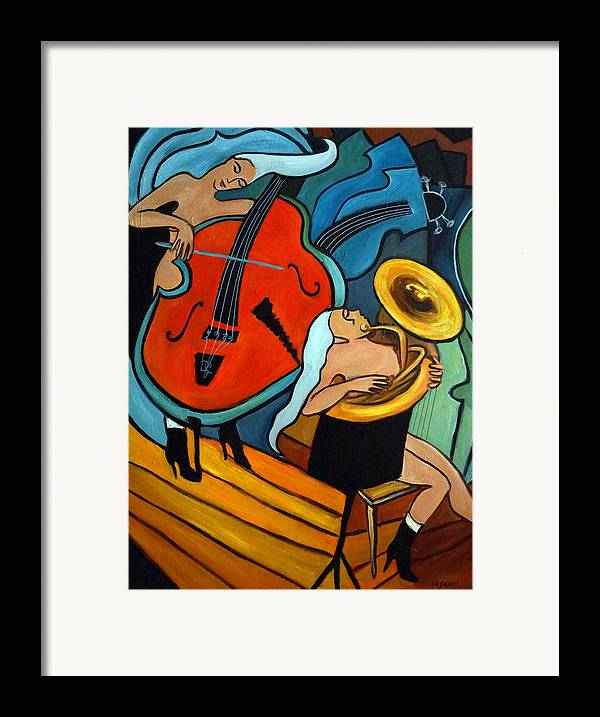 Musician Abstract Framed Print featuring the painting The Tuba Player by Valerie Vescovi