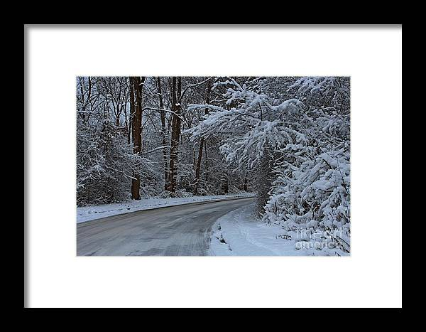 Snow Framed Print featuring the photograph The Turns. by Dipali S
