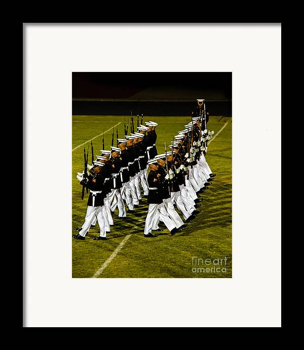 Tunited States Framed Print featuring the photograph The United States Marine Corps Silent Drill Platoon by Robert Bales