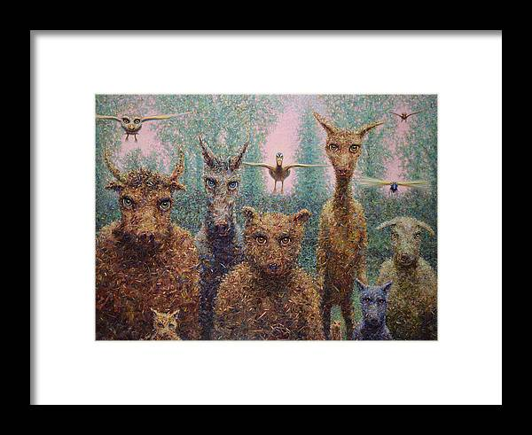 Animals Framed Print featuring the painting The Untamed by James W Johnson
