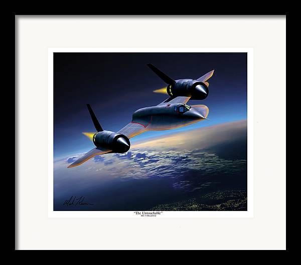 Airplane Framed Print featuring the painting The Untouchable Sr-71 Blackbird by Mark Karvon