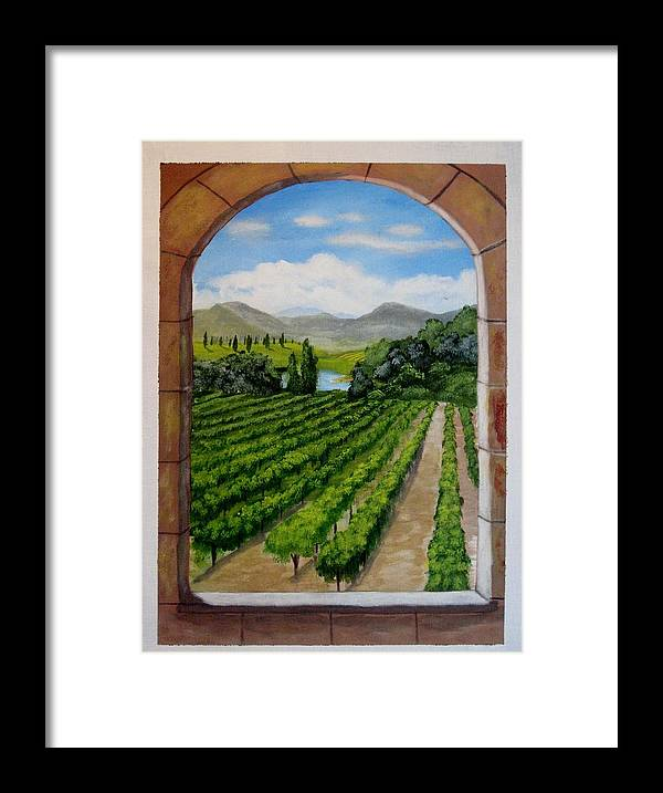 Vineyard Framed Print featuring the painting The Vineyard by Rich Fotia