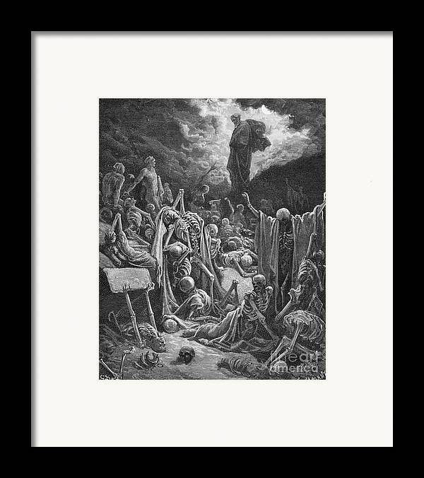 Prophet Framed Print featuring the painting The Vision Of The Valley Of Dry Bones by Gustave Dore