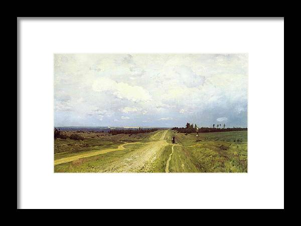 Russian; Landscape; Bleak; Desolate; Deserted; Track; Path; Flat; Exile; Rural; Remote; Countryside; Volga Motorway; Siberia Framed Print featuring the painting The Vladimirka Road by Isaak Ilyich Levitan