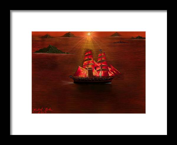 Voyage Framed Print featuring the digital art The Voyage by Michael Rucker