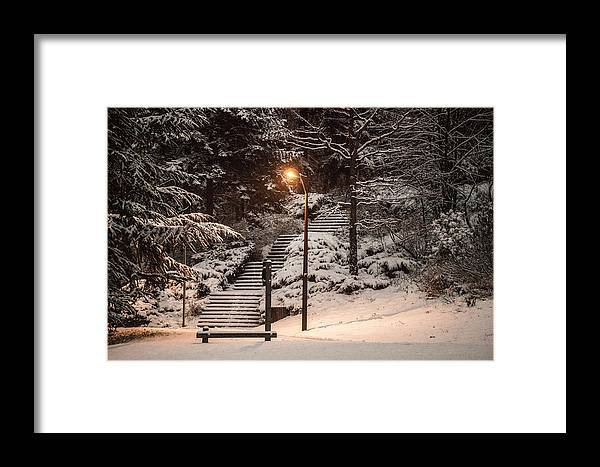 Parc Framed Print featuring the photograph The Warmth In The Snow by YAWAT DJAMEN William