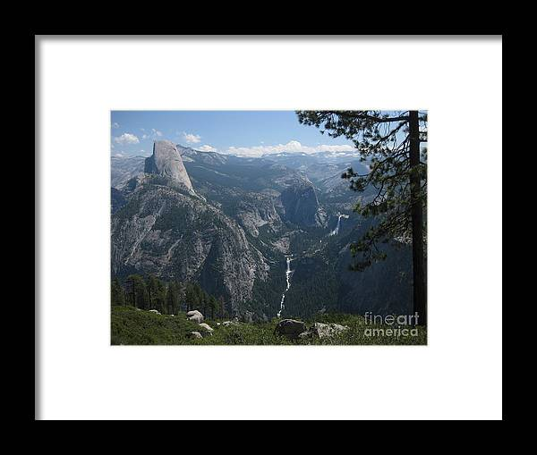 Half Dome Framed Print featuring the photograph The Waterfall Beyond The Dome by AC Hamilton