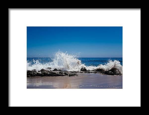 Blue Framed Print featuring the photograph The Waves Of Carpinteria by Tony Boyajian