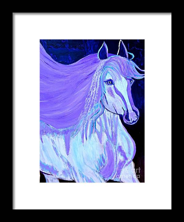 White Horse Framed Print featuring the painting The White And Purple Horse 1 by Saundra Myles