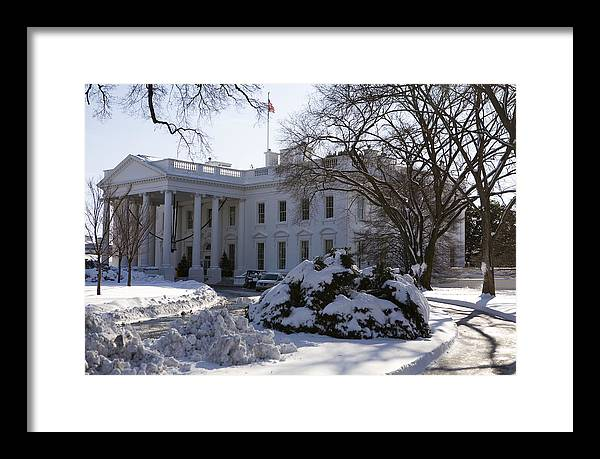 America Framed Print featuring the photograph The White House In Winter by JP Tripp