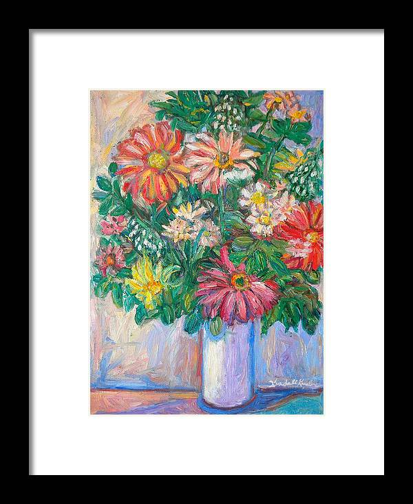 Still Life Framed Print featuring the painting The White Vase by Kendall Kessler