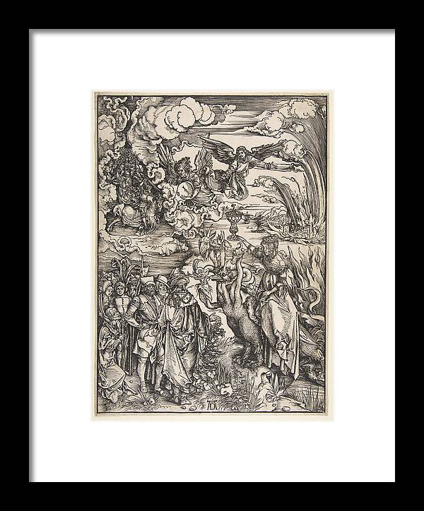 Albrecht Duerer Framed Print featuring the drawing The Whore Of Babylon From The Apocalypse by Albrecht Duerer