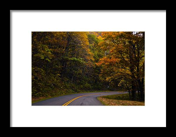 Fall Color Framed Print featuring the photograph The Winding Road by Debra Crank