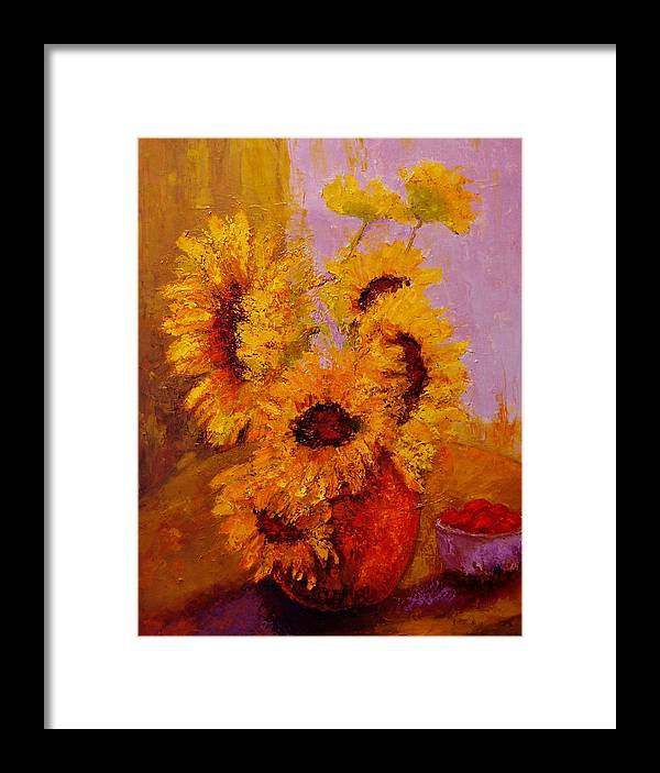 Sunflowers/red Sunny/day/spring/orange Framed Print featuring the painting The Window View by Marie Hamby