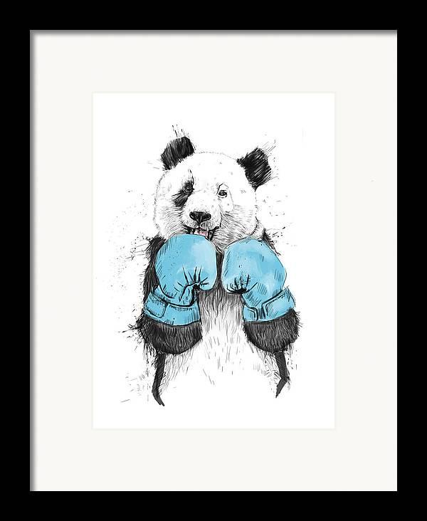 Panda Framed Print featuring the digital art The Winner by Balazs Solti