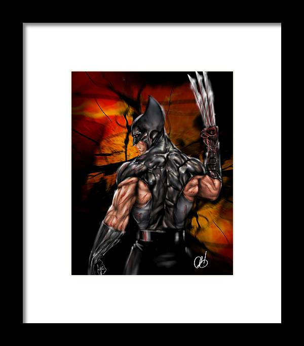 Marvel Framed Print featuring the painting The Wolverine by Pete Tapang