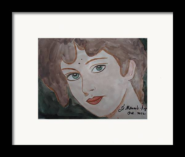 Face Framed Print featuring the painting The Woman From The Market... by Fladelita Messerli-