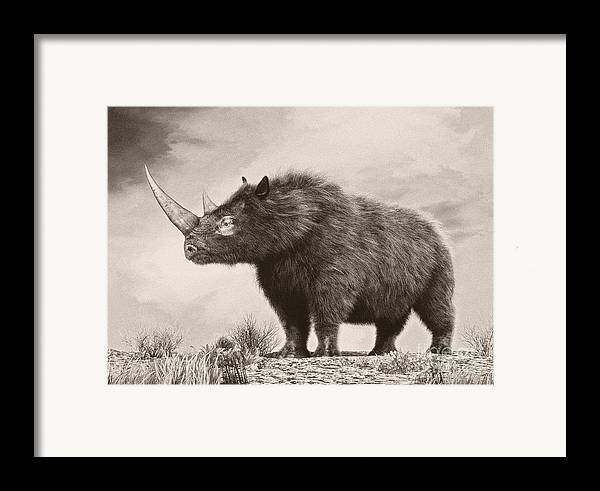 Horizontal Framed Print featuring the digital art The Woolly Rhinoceros Is An Extinct by Philip Brownlow