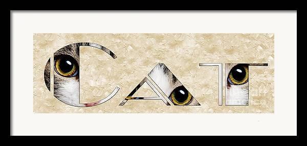 Cat Framed Print featuring the mixed media The Word Is Cat by Andee Design