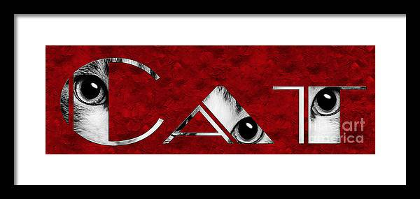 Andee Design Cat Framed Print featuring the photograph The Word Is Cat Bw On Red by Andee Design