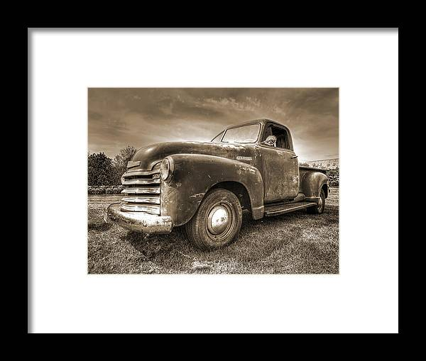 The Workhorse In Sepia - 1953 Chevy Truck Framed Print